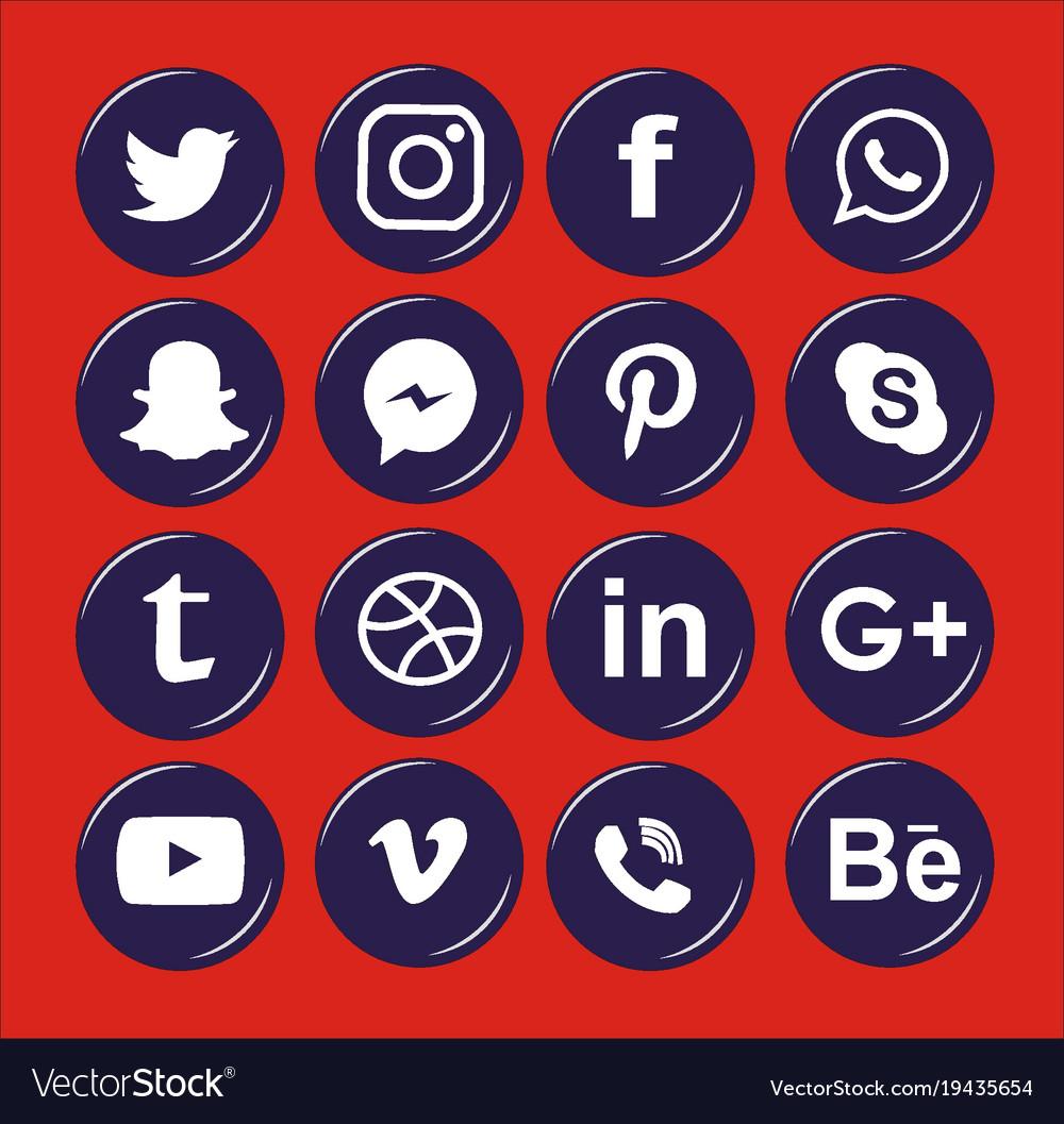 Social media white circular icon