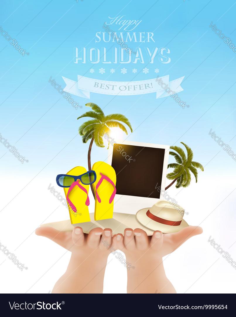 1ec8371e4e512 Summer holidays background Vacation memories Vector Image