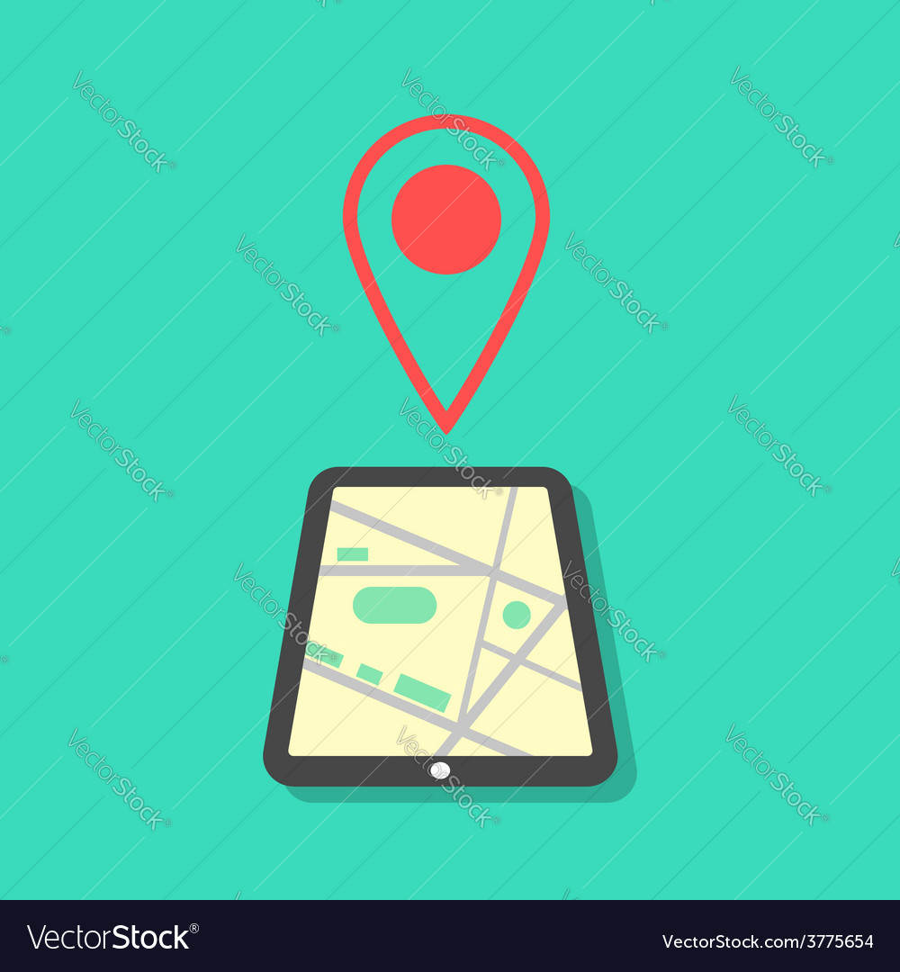 Tablet with map and pointer