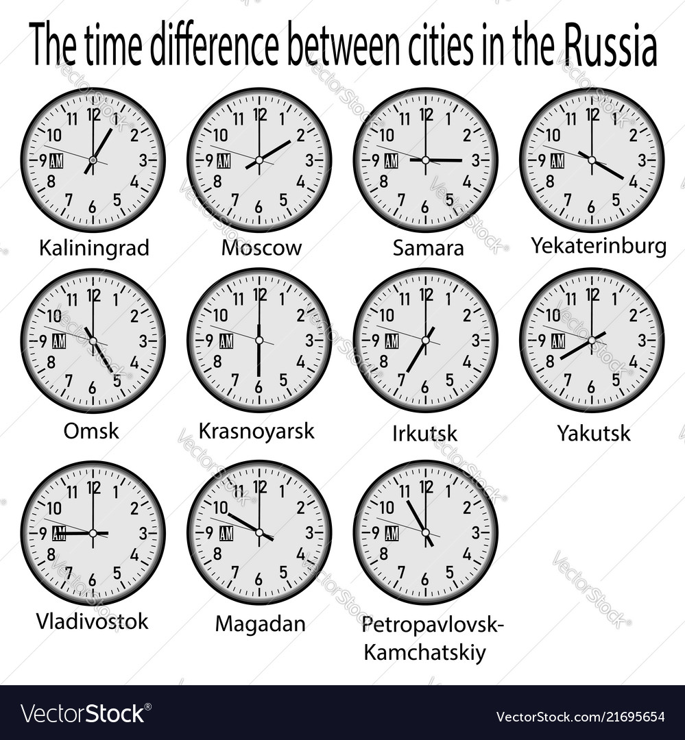 wall clock showing time in different cities of vector image