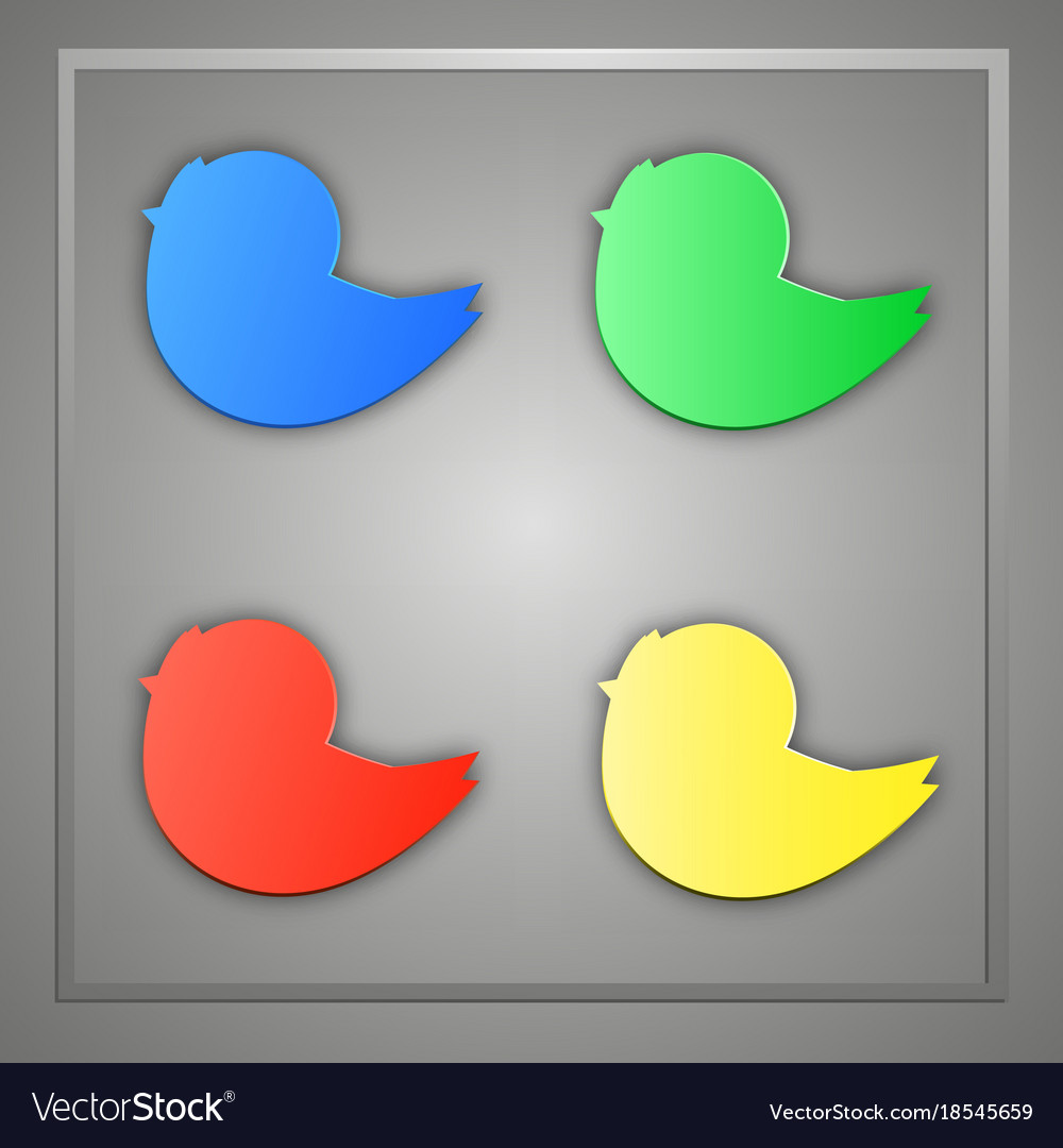 A set of blue green yellow red bird icons vector image