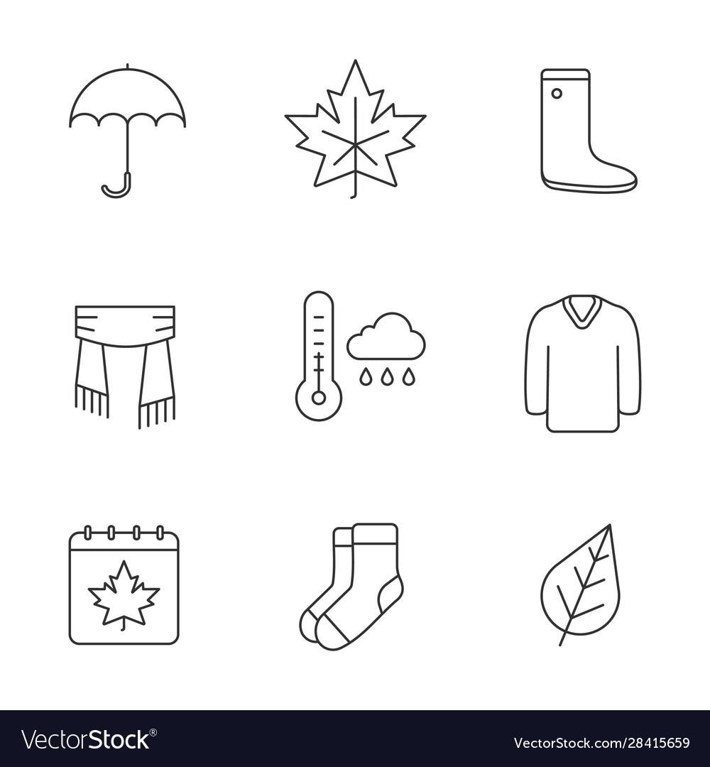 Autumn season linear icons set
