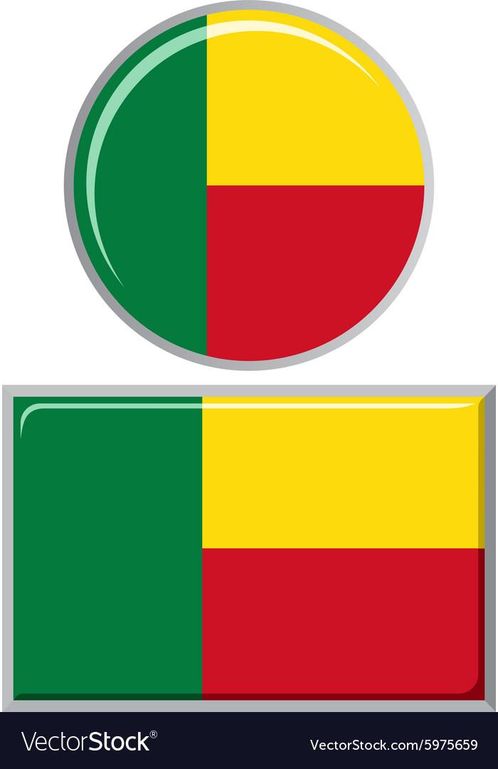 Benin round and square icon flag