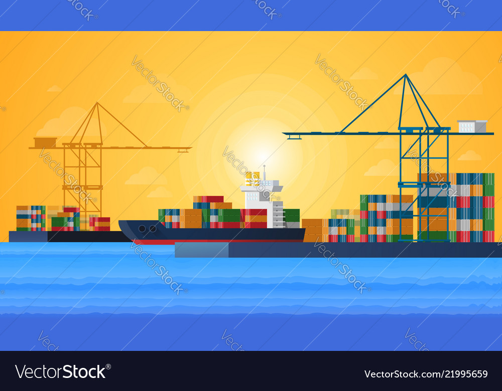 Cargo sea port with cargo freight ships and