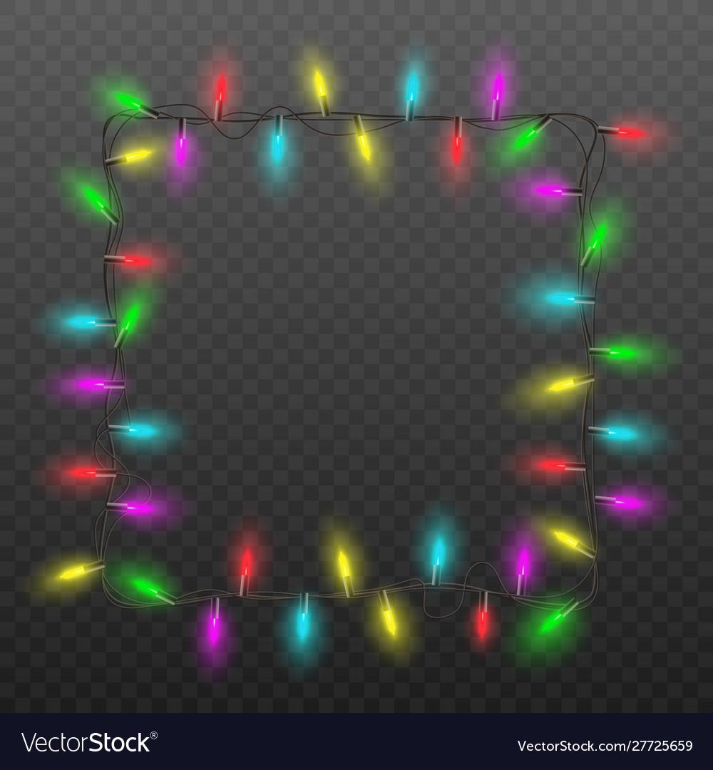 Festive square frame christmas lights garland
