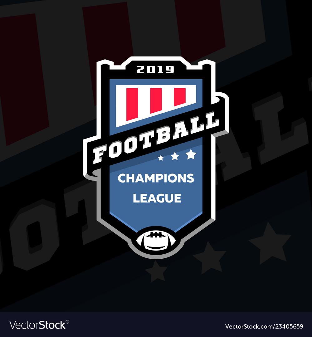 Football champions league emblem logo on a dark