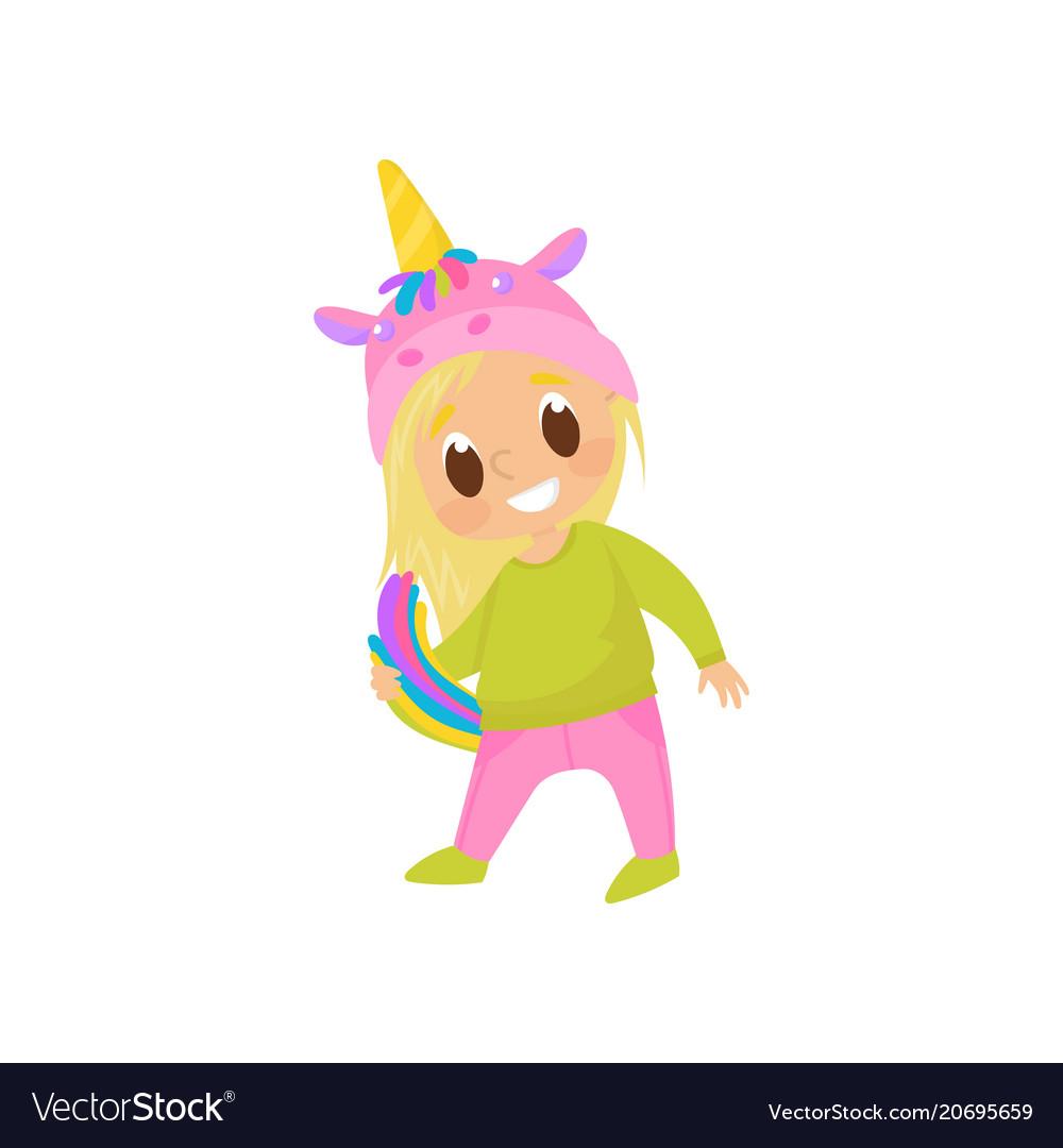 Girl playing and having fun in a unicorn costume