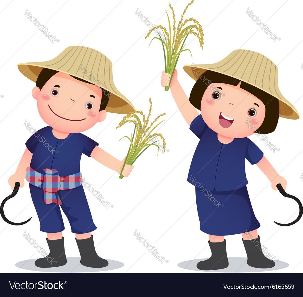 Profession costume of Thai farmer for kids vector image
