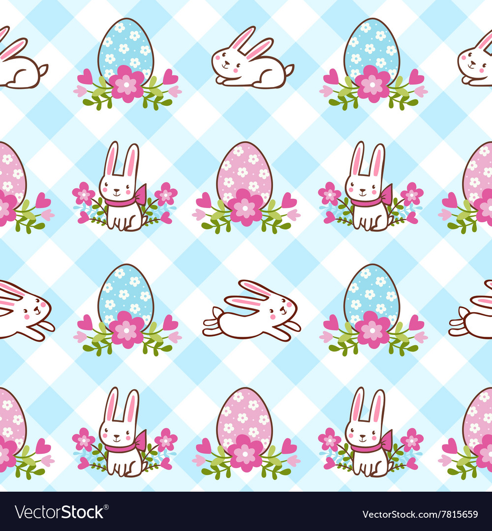 Seamless pattern with easter bunnies and eggs