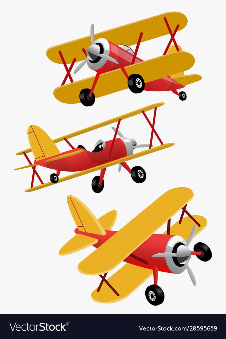 Set bundle cartoon double wings airplane