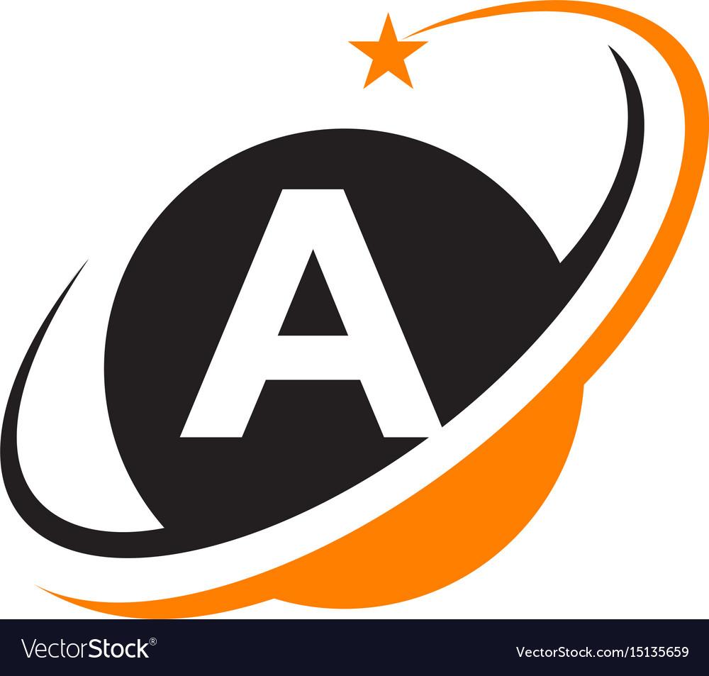 Star swoosh letter b vector image