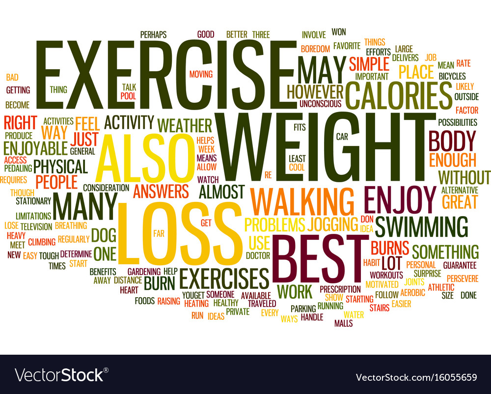 The Best Exercise For Weight Loss Text Background Vector Image