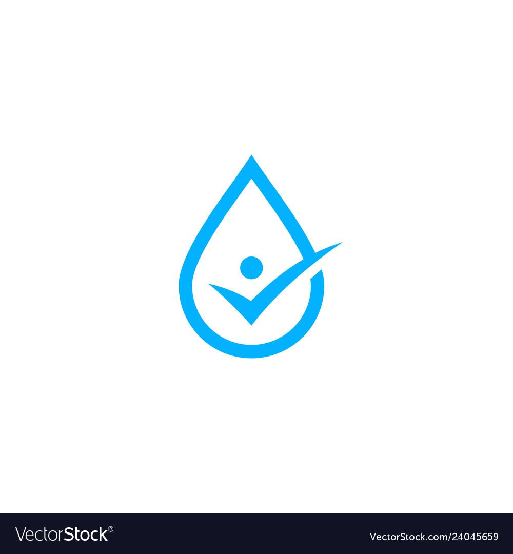 Water drop human check logo icon