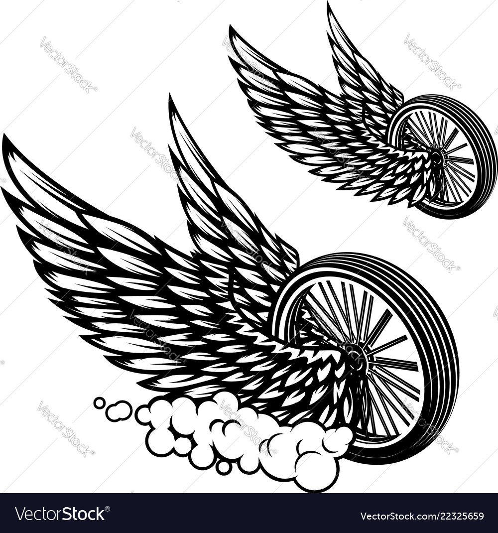 Wheel with wings isolated on white background