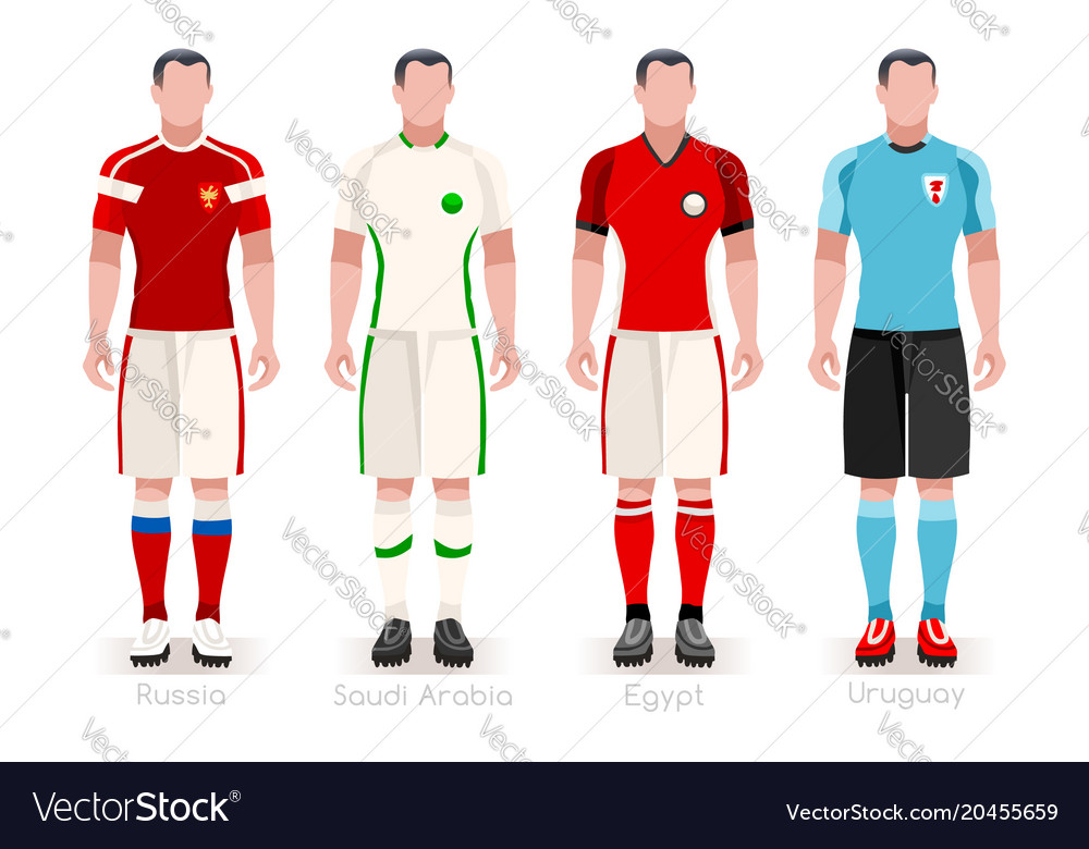 f0c83f7d593 World cup group a jerseys kit Royalty Free Vector Image