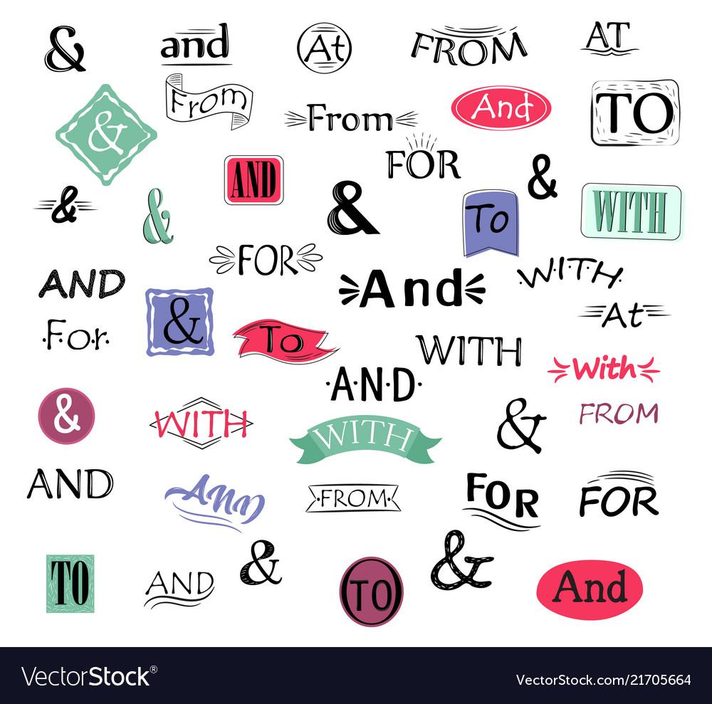 Ampersand amper lettering symbol with drawn