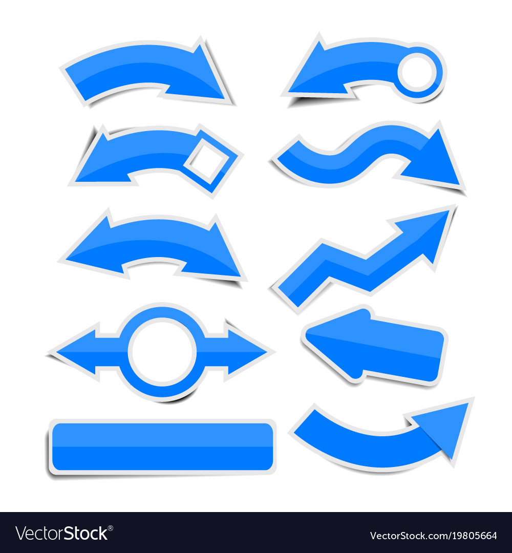 Blue paper arrow stickers with shadows