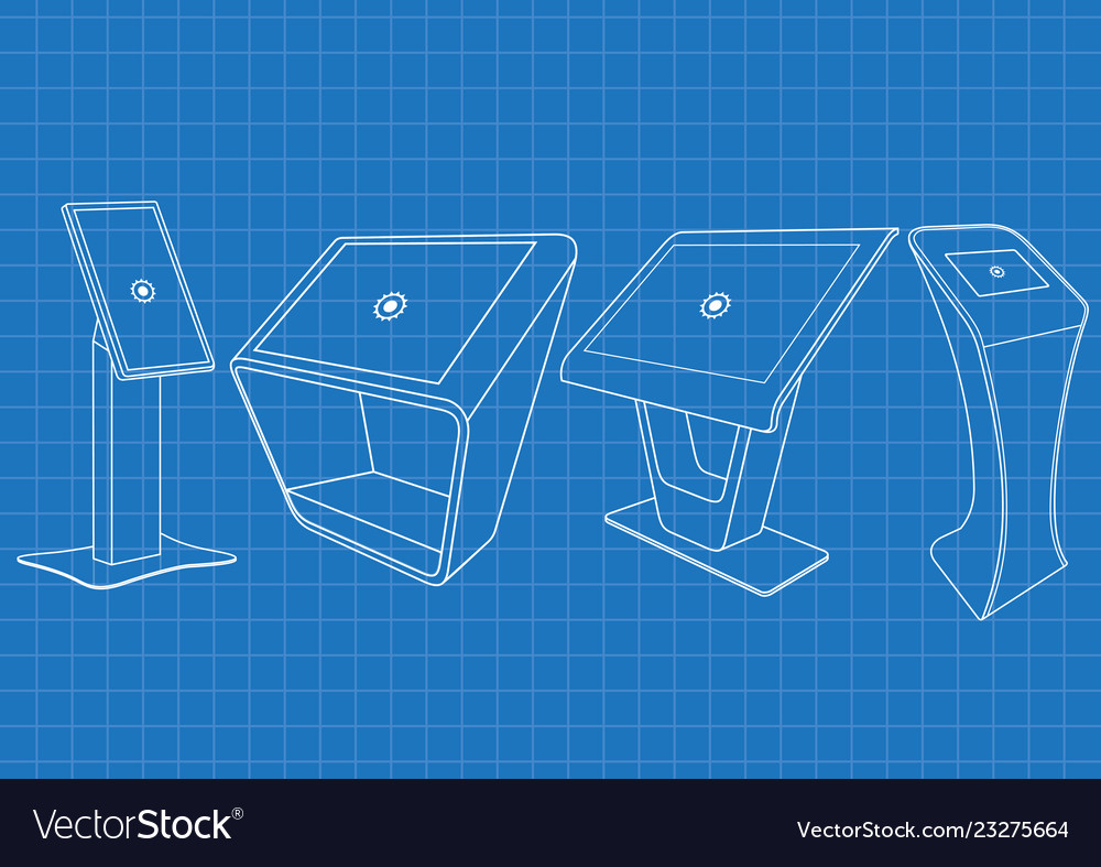 Blueprint of four promotional interactive kiosk