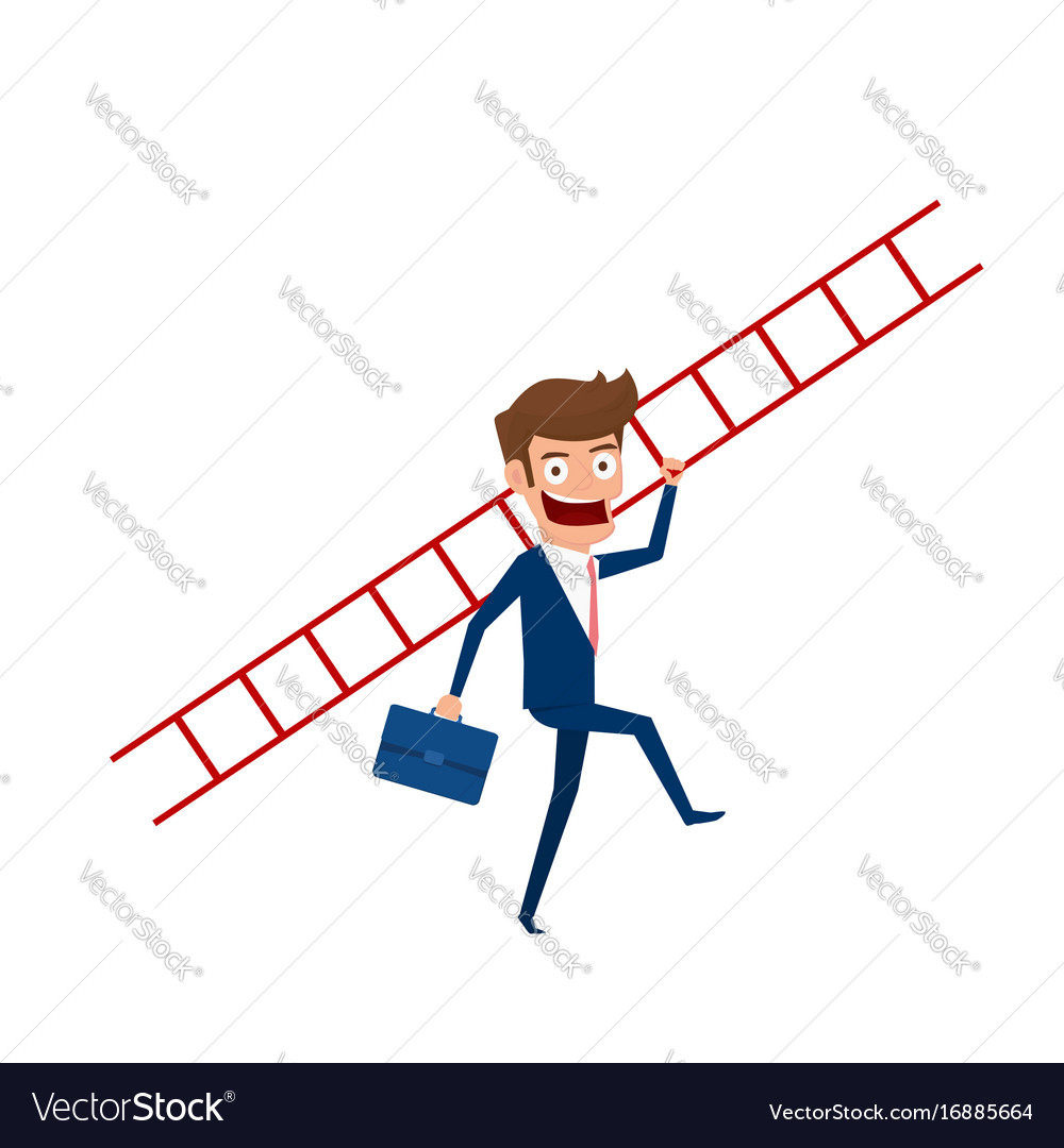 Businessman holding stair to target and success