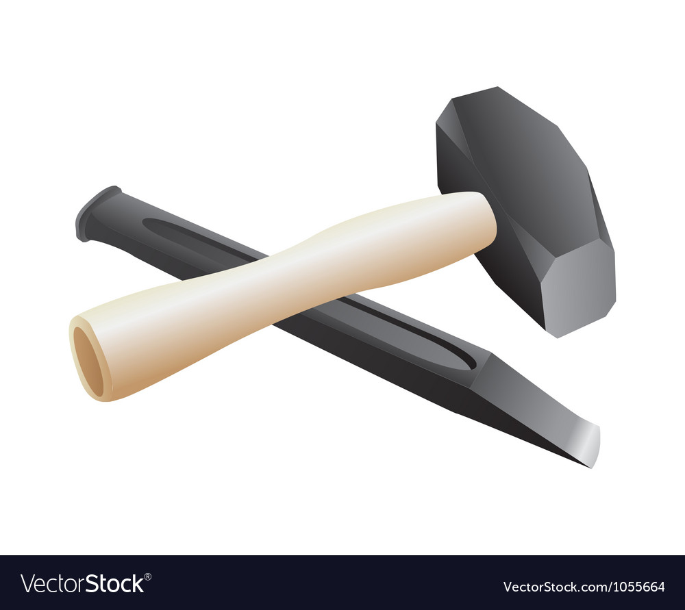 Chisel and hammer Royalty Free Vector Image - VectorStock