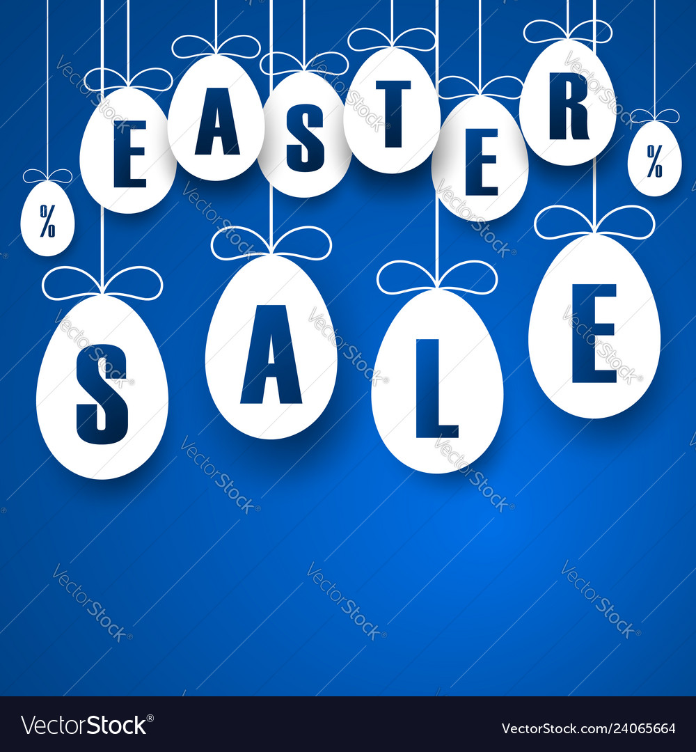 Easter sale banner easter hanging eggs with
