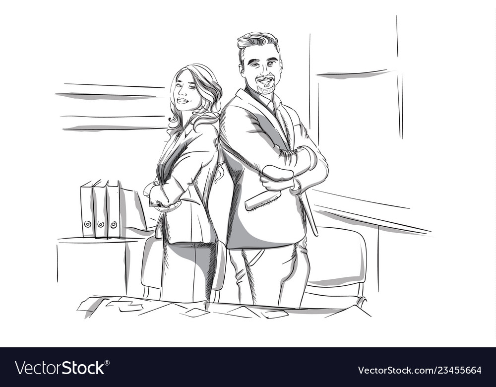 Happy business man and woman standing cross handed