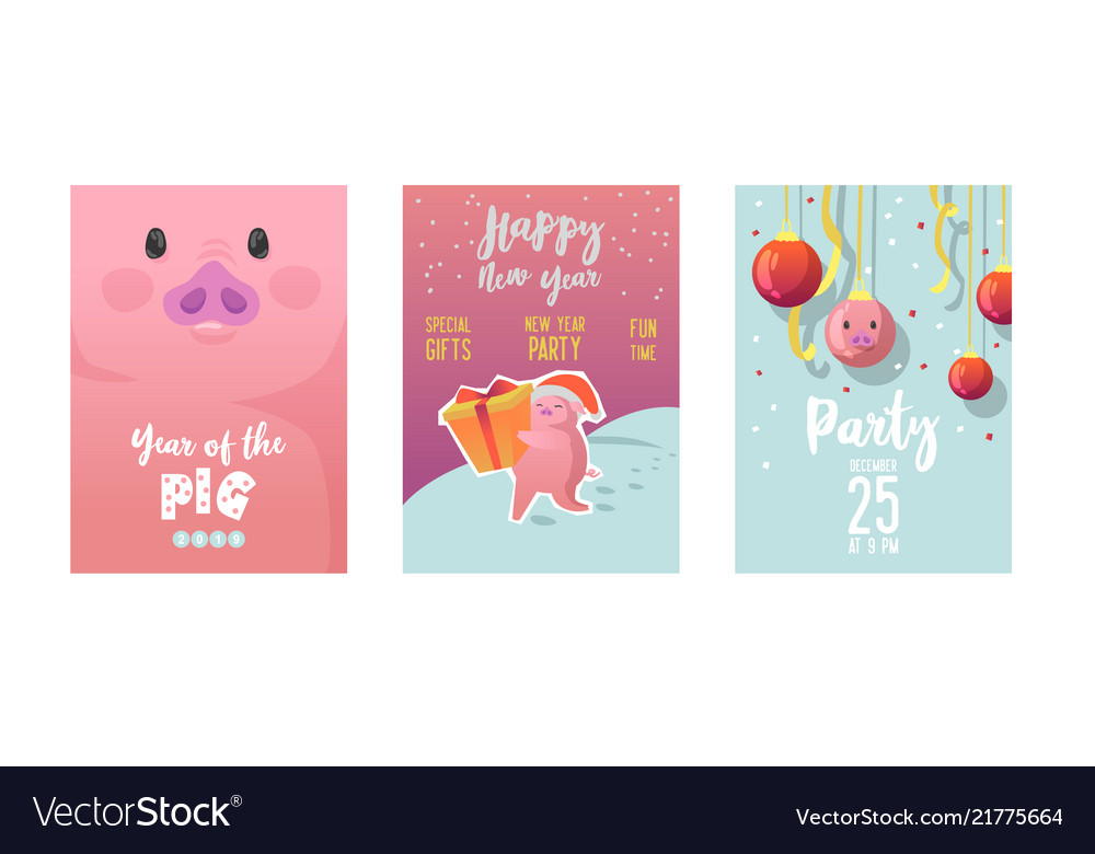 Happy new year posters cute pig symbol 2019 year