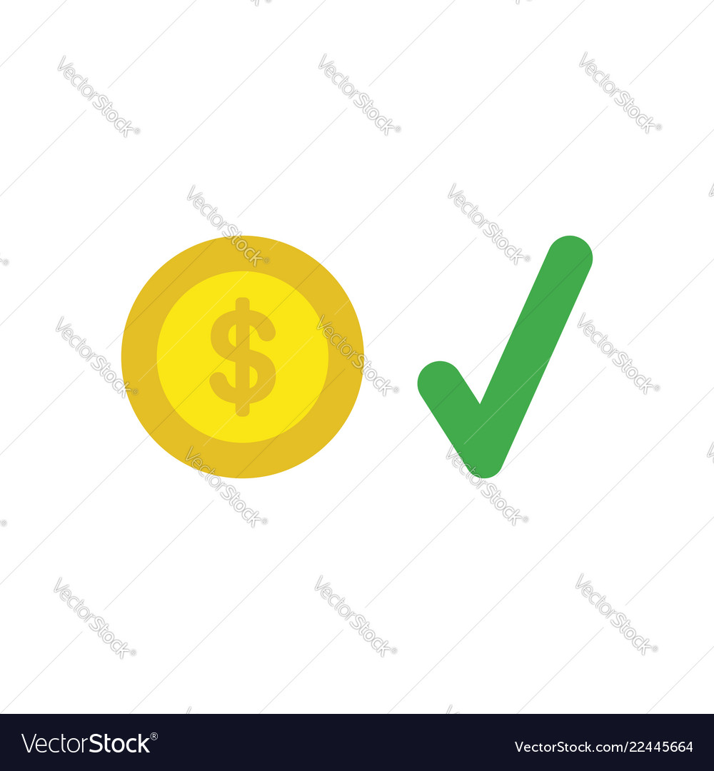 Icon concept of dollar coin with check mark