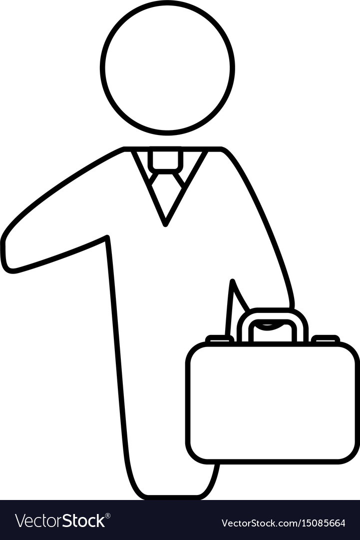 Line businessman with suit and briefcase vector image
