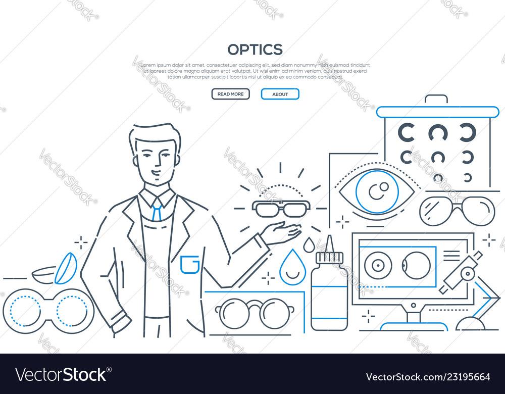Optics - modern line design style web banner