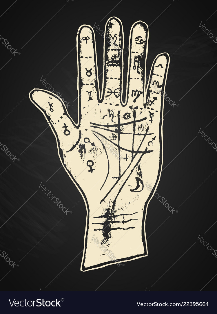 Palmistry hand on a black background