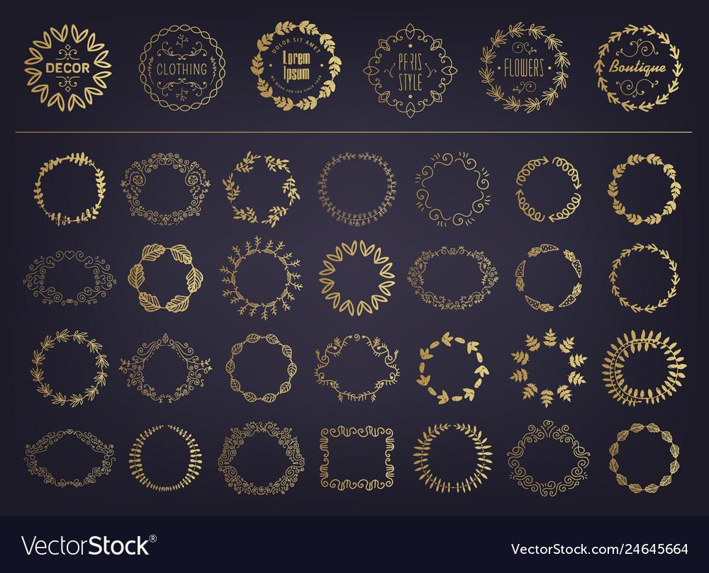 Set golden floral silhouette circular