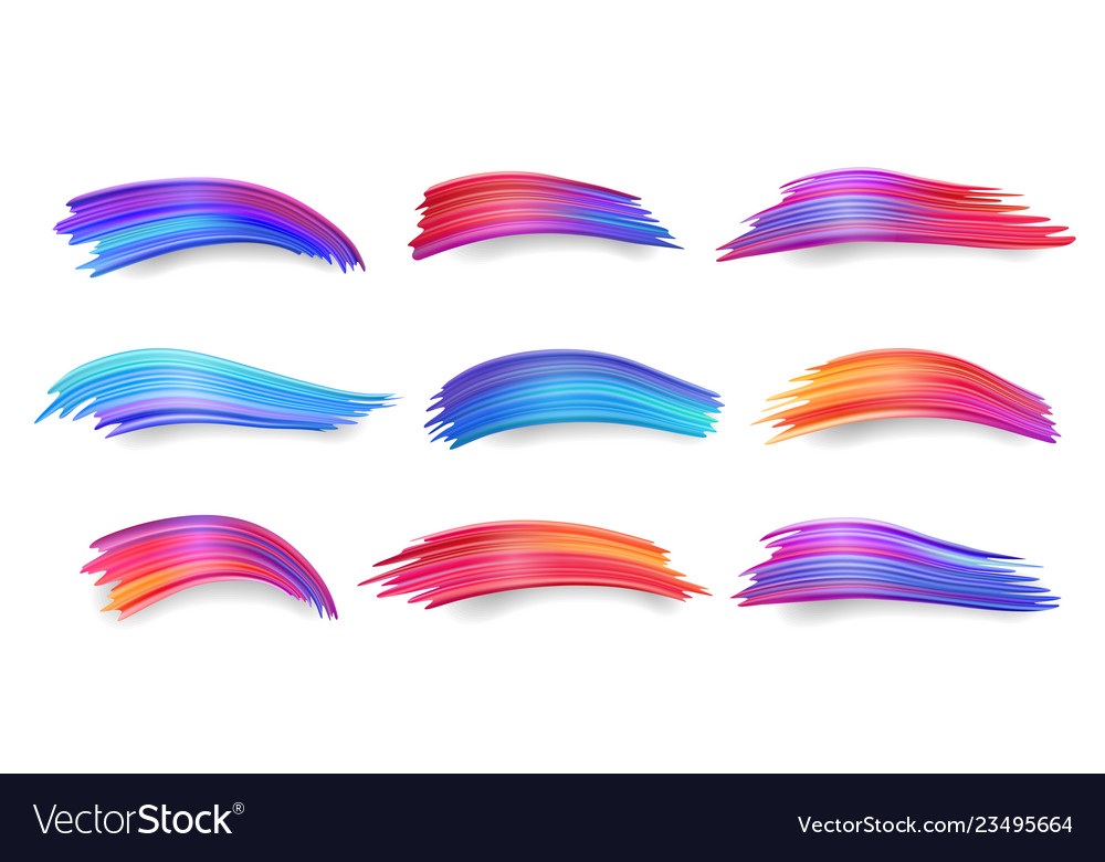 Set of isolated colorful gradient brush strokes