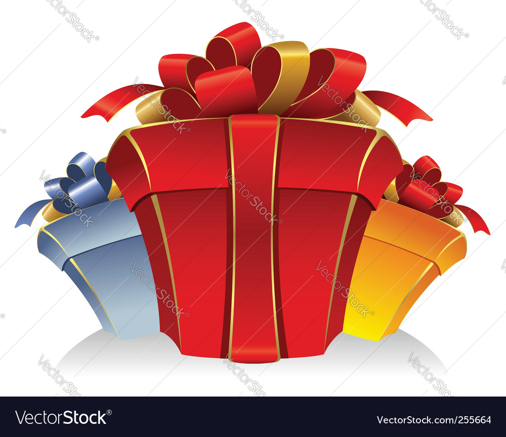 Three cardboard gift box vector image