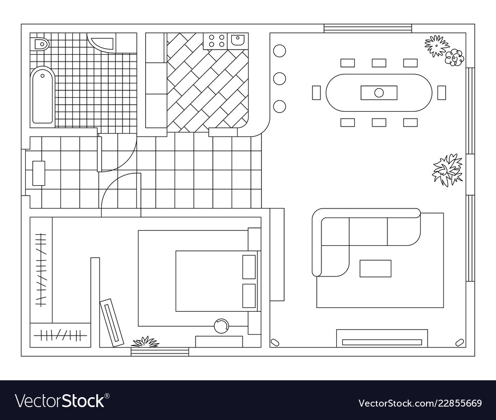 Architecture plan with furniture in top view