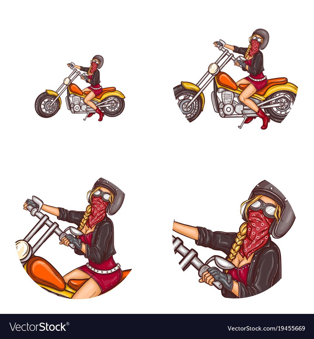 Biker sexy girl pop art avatar icons vector image