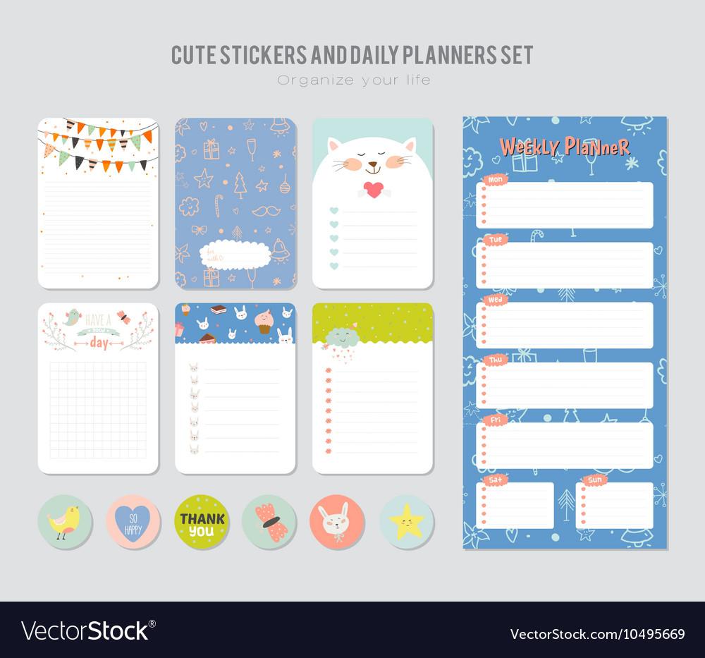cute daily calendar template royalty free vector image