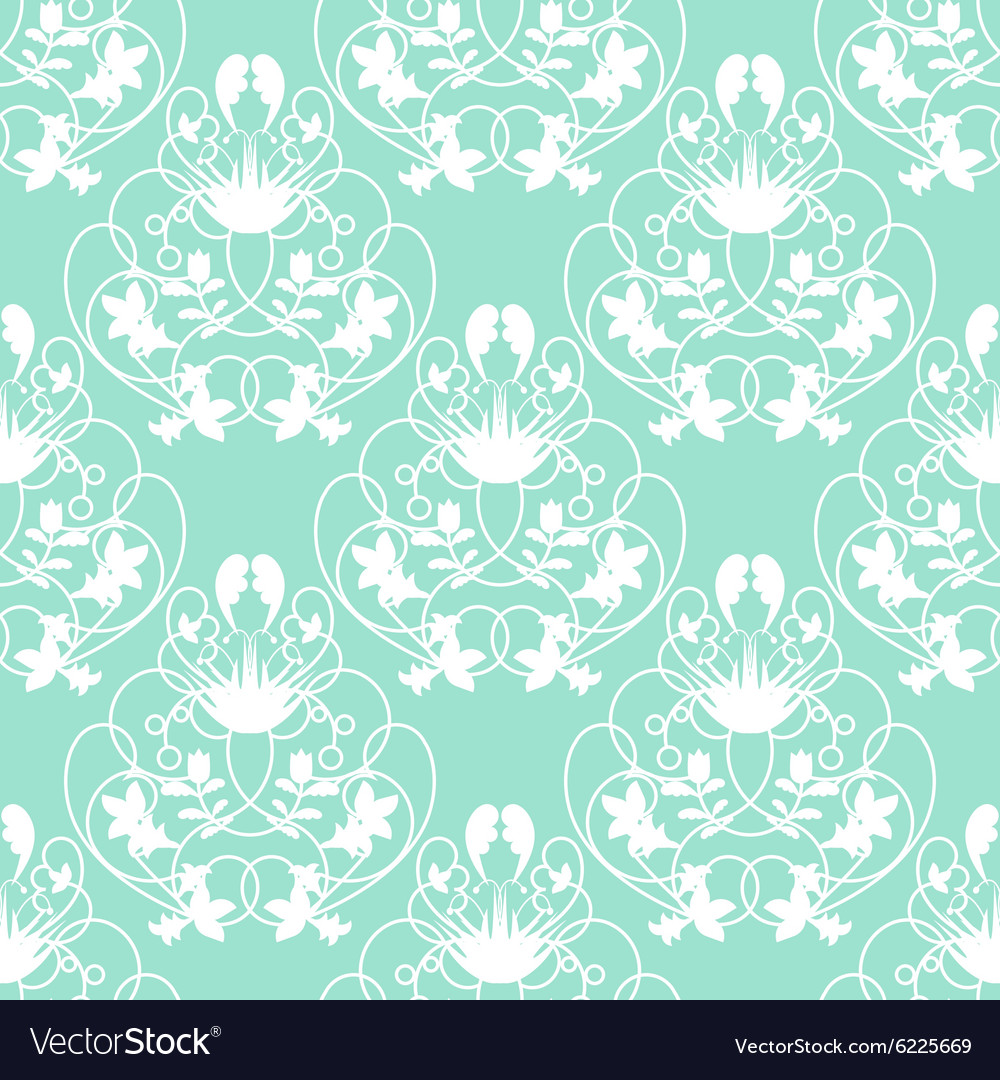 Elegant Damask Mint Seamless Background Royalty Free Vector
