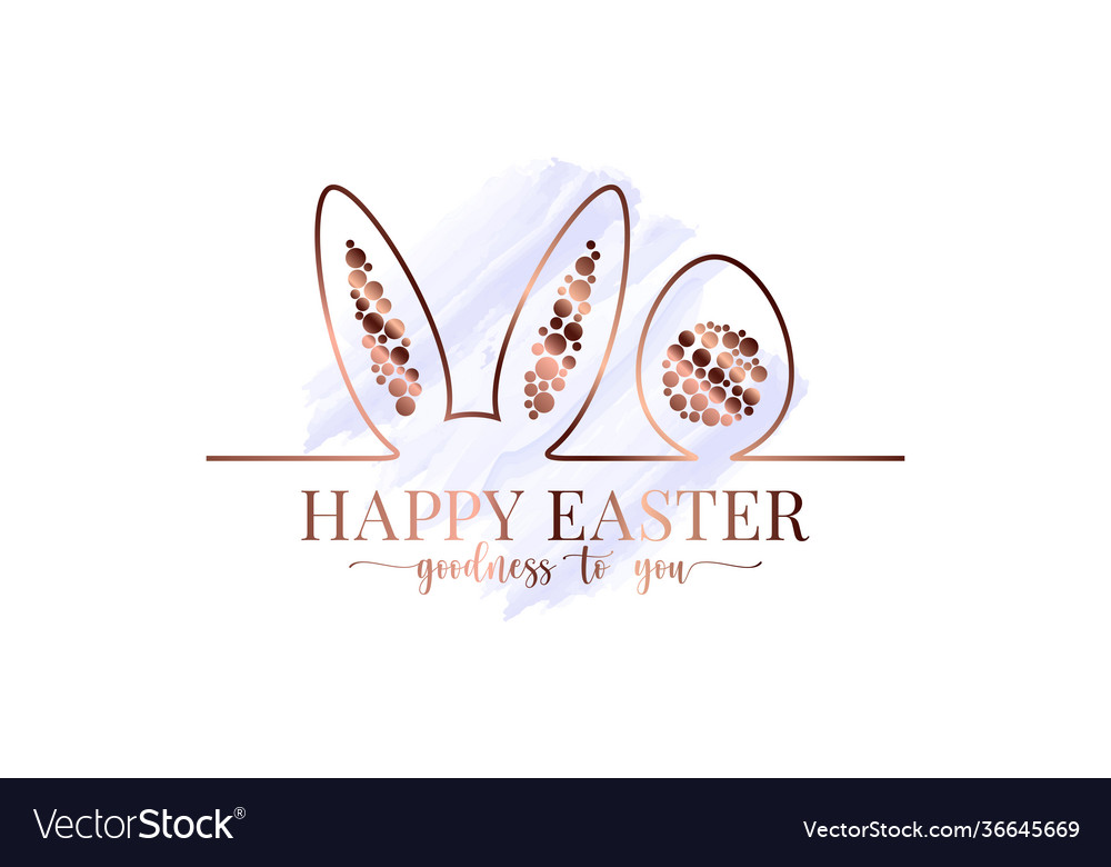 Happy easter watercolor easter bunny gold card