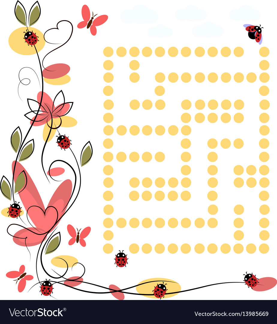 Labyrinth for ladybug on white background vector image