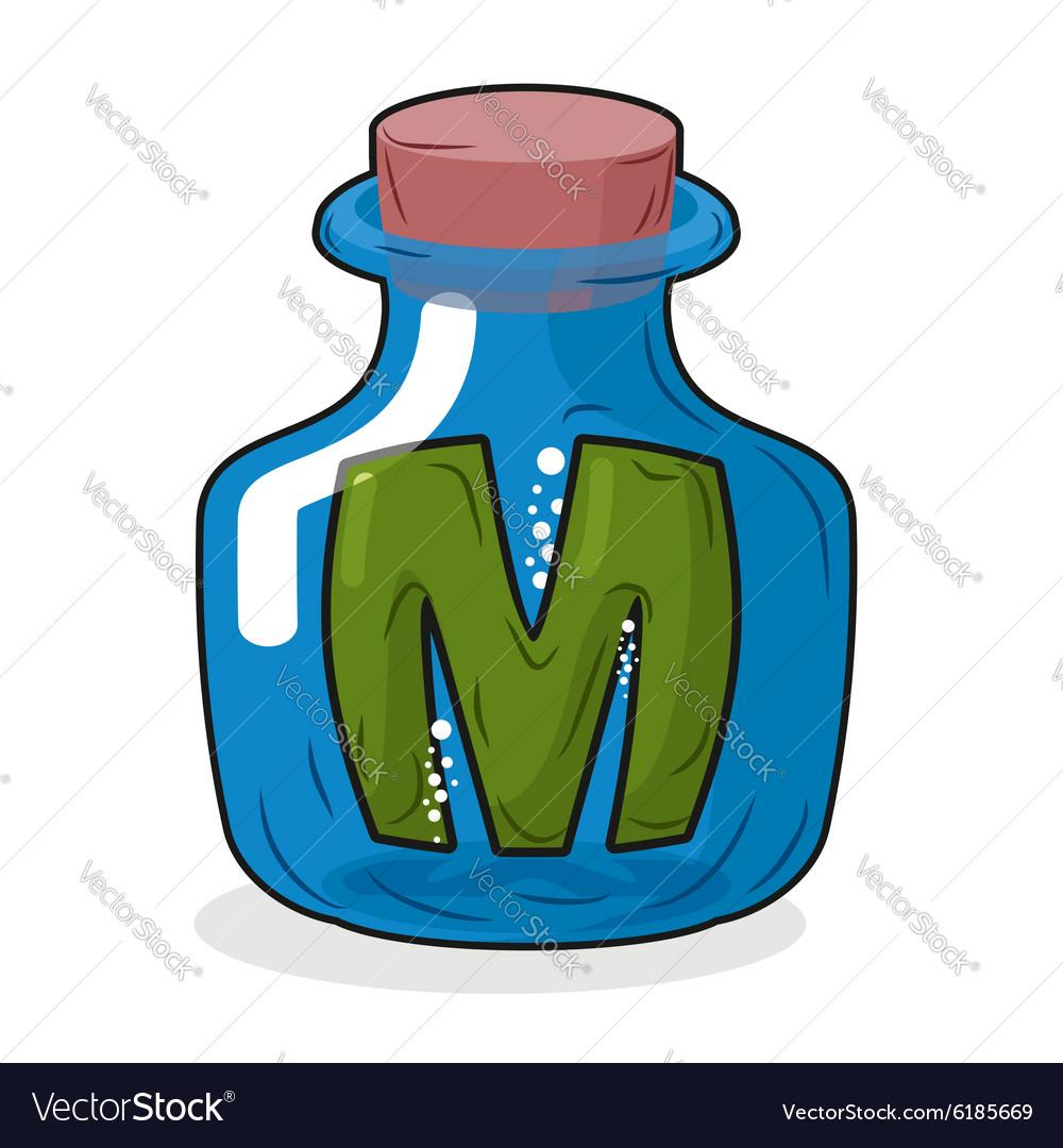 M in bottle Green letter in blue glass jar Magic