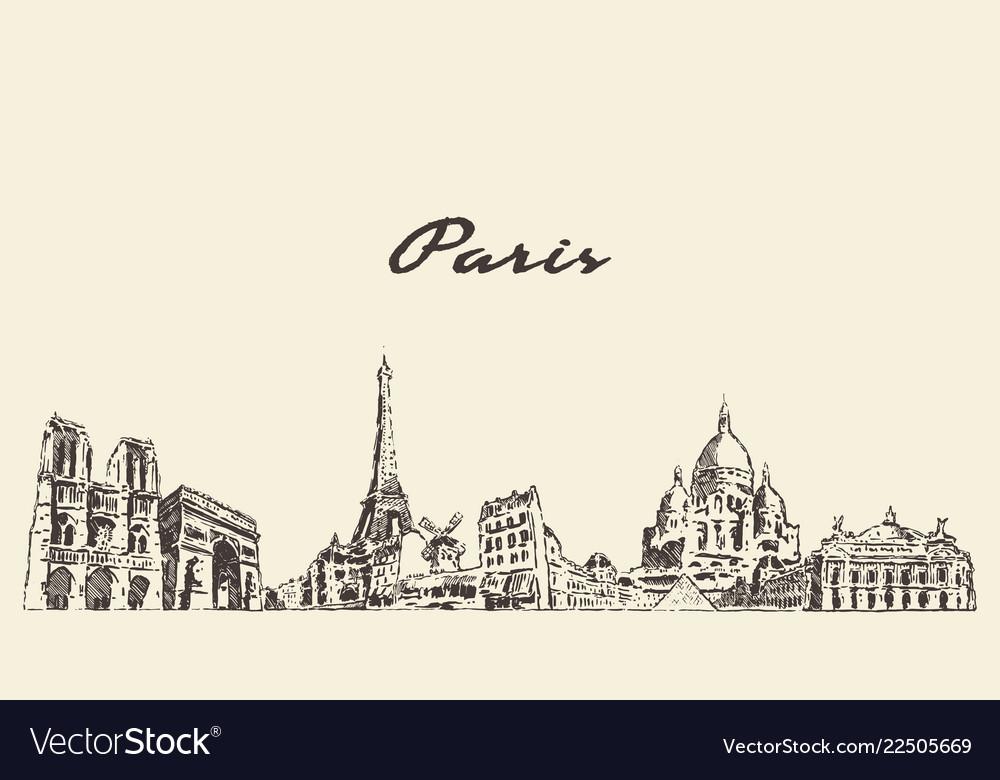 Paris skyline france city drawn sketch