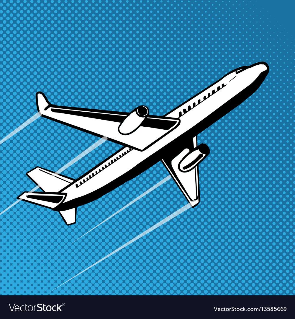Plane takes off pop art Royalty Free Vector Image bbd6e55e6