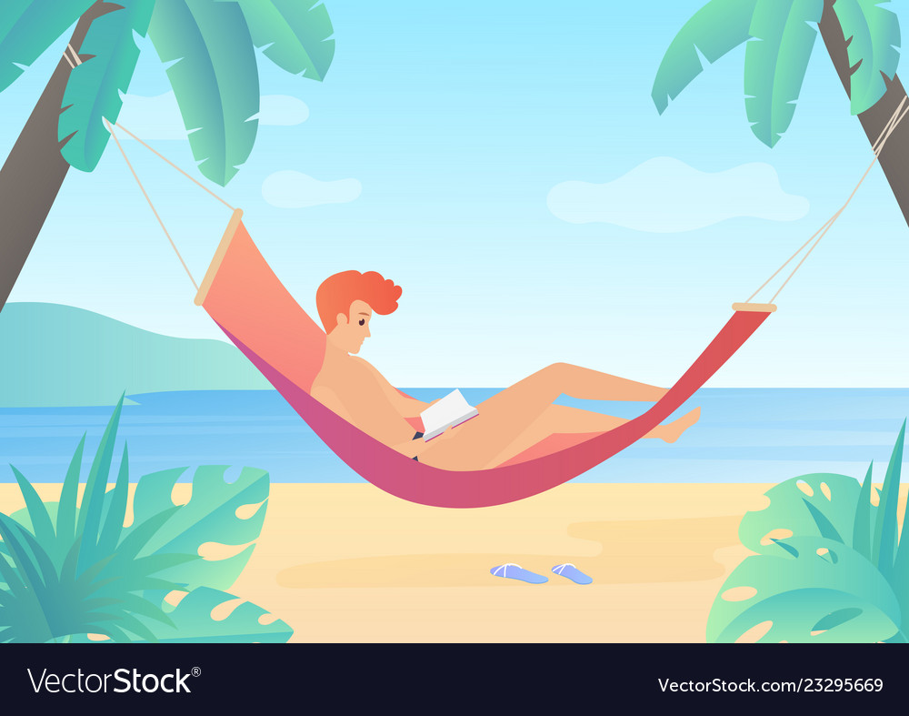 Reading young man on hammock flat gradient