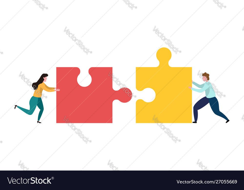 Teamwork men and women who assemble puzzle