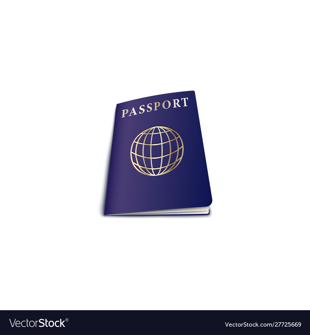 Travel passport with globe on cover realistic