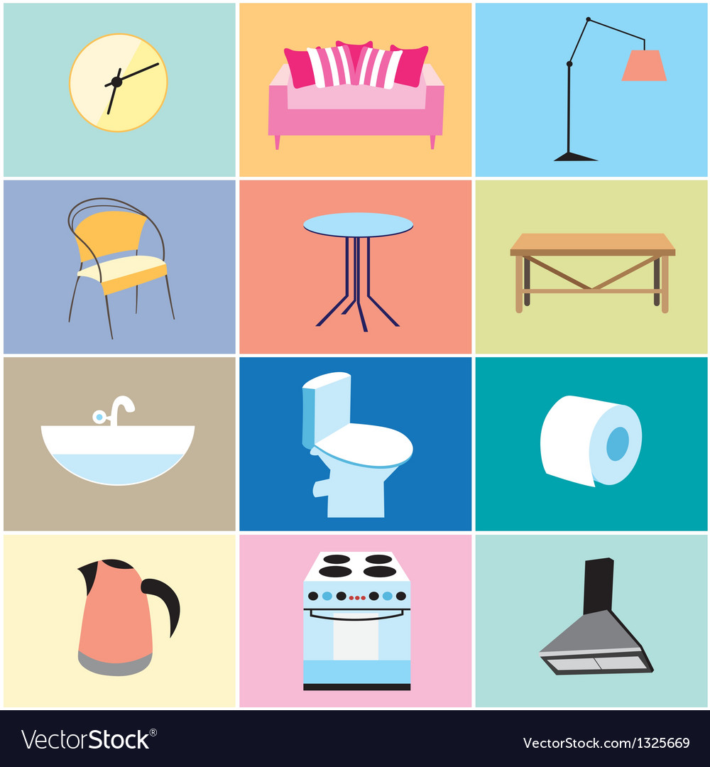 Various furniture and household items vector image