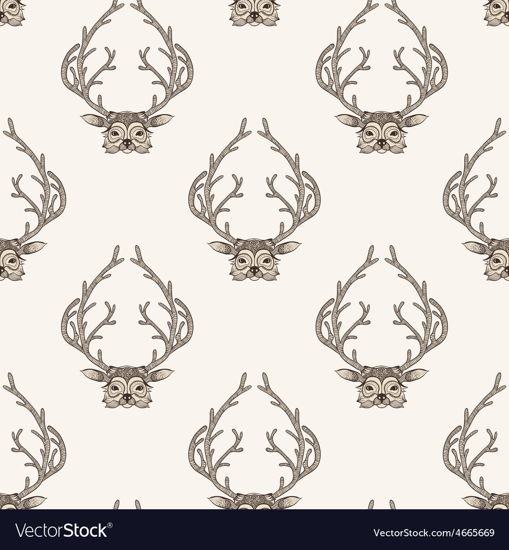 Zentangle stylized deer seamless pattern Hand