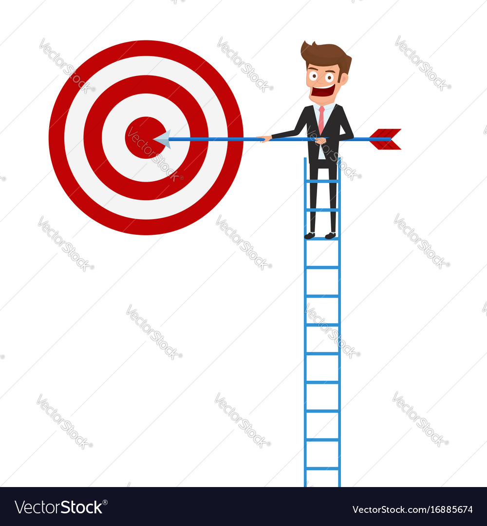 Businessman climbing stair and holding arrow