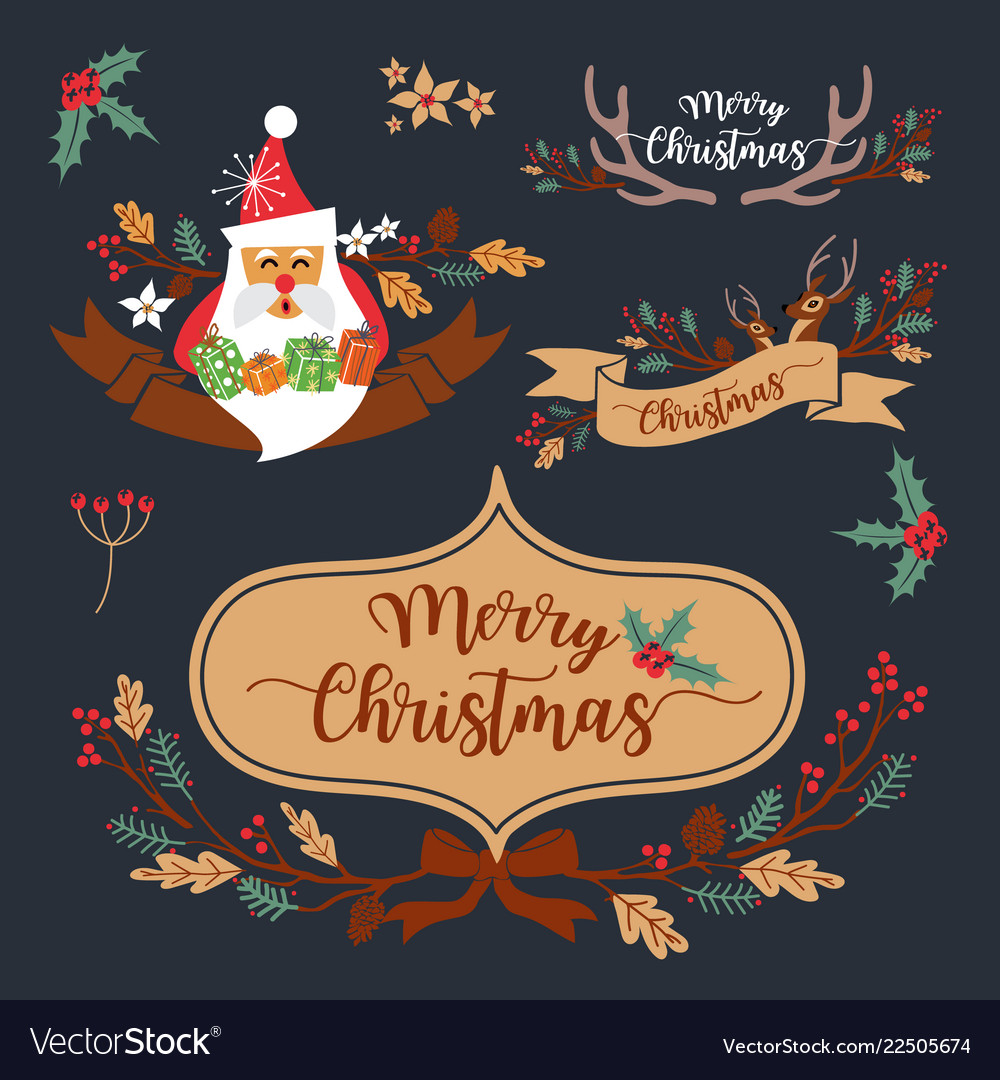 Christmas wreath elements and decoration design